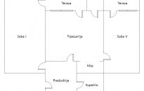 Plan stana - 68 kvadrata u centru Sokobanje